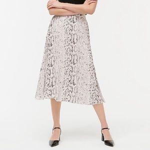 New J. Crew Snake Print Pleated Midi Skirt